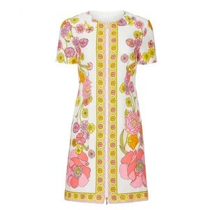 Trina Turk Arboretum Dress Floral Retro Mod 60s